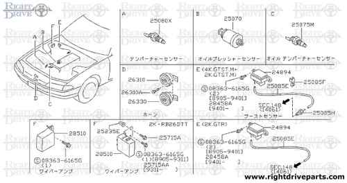 25554 - wire, steering air back (spiral cable) - BNR32 Nissan Skyline GT-R
