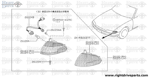 26120 - lamp assembly, front combination RH - BNR32 Nissan Skyline GT-R