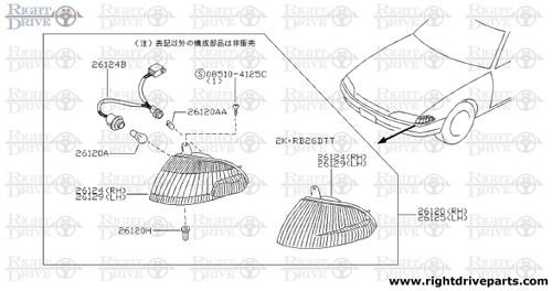 26124B - socket assembly, front combination lamp - BNR32 Nissan Skyline GT-R