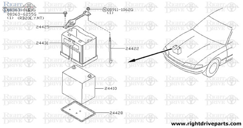 24425 - bar assembly, battery fixing - BNR32 Nissan Skyline GT-R