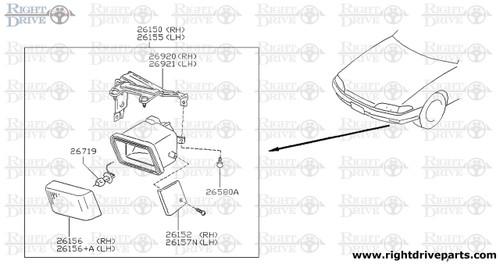 26150 - lamp assembly, fog RH - BNR32 Nissan Skyline GT-R