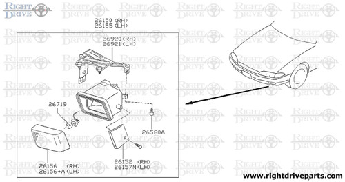 26155 - lamp assembly, fog LH - BNR32 Nissan Skyline GT-R