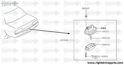 26510N - lamp assembly, license plate - BNR32 Nissan Skyline GT-R
