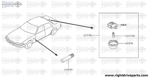 26591 - lens, trunk room lamp - BNR32 Nissan Skyline GT-R