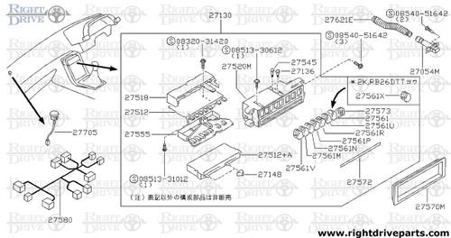 27561M - button, ventilator - BNR32 Nissan Skyline GT-R