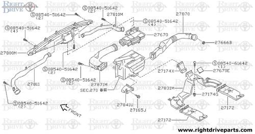 27831M - duct, heater floor 2ND - BNR32 Nissan Skyline GT-R