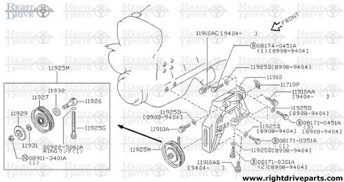 11929 - cover, idler pulley - BNR32 Nissan Skyline GT-R