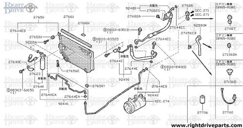 27650Y - mounting rubber, condenser lower - BNR32 Nissan Skyline GT-R