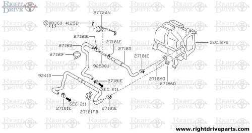 27183 - hose, front heater 2 - BNR32 Nissan Skyline GT-R