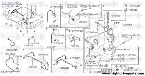 27960H - tube, drain antenna - BNR32 Nissan Skyline GT-R