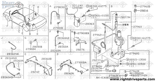 28217M - guide, antenna rod - BNR32 Nissan Skyline GT-R