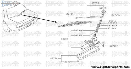 28755 - arm assembly, rear window wiper - BNR32 Nissan Skyline GT-R