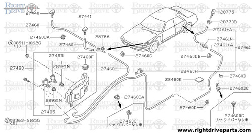 27441 - nozzle assembly, washer LH - BNR32 Nissan Skyline GT-R