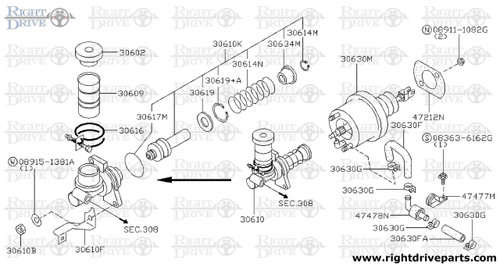 30630G - clamp, hose - BNR32 Nissan Skyline GT-R