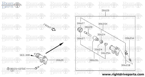 30620L - piston kit, clutch operating cylinder - BNR32 Nissan Skyline GT-R