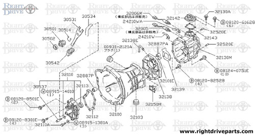 32130M - case assembly, over drive gear - BNR32 Nissan Skyline GT-R