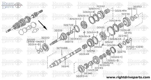 32205 - spacer, bearing main drive gear - BNR32 Nissan Skyline GT-R
