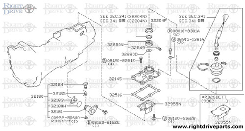 32182 - plate, guide shift lever - BNR32 Nissan Skyline GT-R