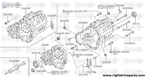 33102P - clip, bracket control cable - BNR32 Nissan Skyline GT-R