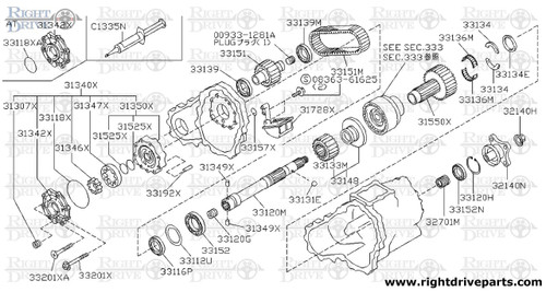 31349X - pin, pivot - BNR32 Nissan Skyline GT-R