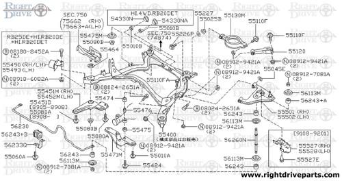 55475M - stopper, member mounting lower - BNR32 Nissan Skyline GT-R
