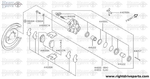 44081 - pin, anti shoe rattle - BNR32 Nissan Skyline GT-R