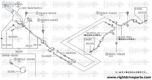 36351 - cover, dust parking brake - BNR32 Nissan Skyline GT-R