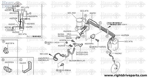 46271FA - clamp, brake tube - BNR32 Nissan Skyline GT-R