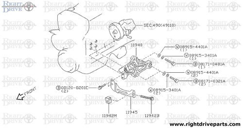 11942M - bracket, adjust bolt - BNR32 Nissan Skyline GT-R