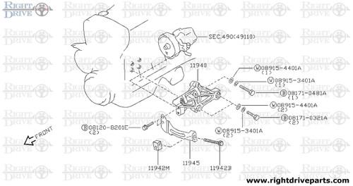 11942M - bracket, adjust bolt - BNR32 Nissan Skyline GT-R