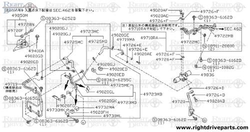 49720+F - hose assembly, pressure power steering - BNR32 Nissan Skyline GT-R