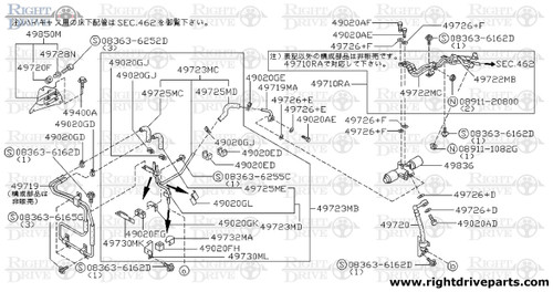 49722MF - hose & tube assembly, pressure PS - BNR32 Nissan Skyline GT-R