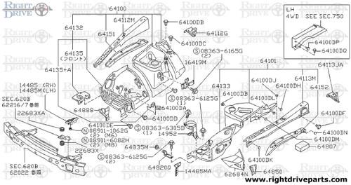 22683XA - rubber, mounting - BNR32 Nissan Skyline GT-R