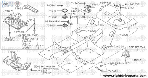 74630AA - screw - BNR32 Nissan Skyline GT-R