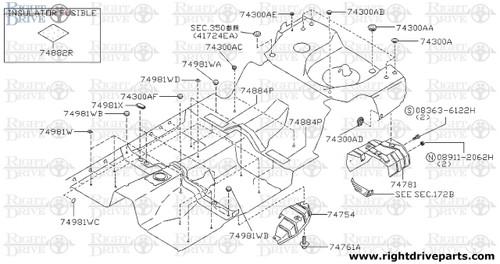 74981WD - cover, hole - BNR32 Nissan Skyline GT-R