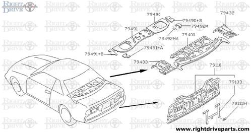 79490+B - insulator, parcel shelf RH - BNR32 Nissan Skyline GT-R