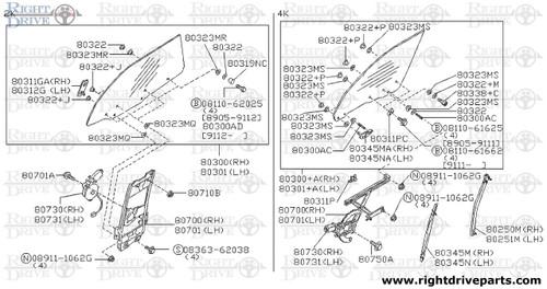 80251M - guide rail, door window front LH - BNR32 Nissan Skyline GT-R
