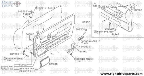 80901E - grommet, screw - BNR32 Nissan Skyline GT-R