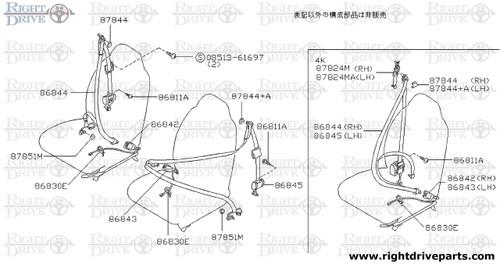 87824MA - adjuster, seat belt - BNR32 Nissan Skyline GT-R