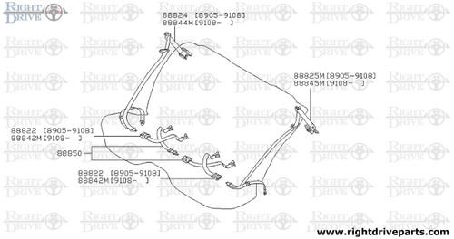 88822 - belt assembly, rear seat buckle - BNR32 Nissan Skyline GT-R