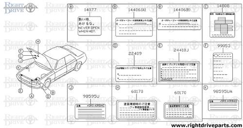14806 - label, unleaded fuel only - BNR32 Nissan Skyline GT-R