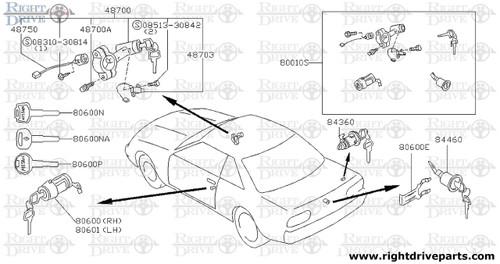 48703 - solenoid assembly, steering lock - BNR32 Nissan Skyline GT-R