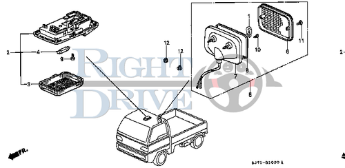 LIGHT ASSY., INTERIOR *NH91L* - #2 - 34250 - Honda Acty HA4