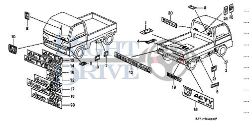 PIPIING DRAWING - #1 - 17277 - Honda Acty HA4