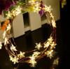 Warm White STARS LED Micro Battery Fairy Lights - 40 LED 4 Metre Silver String