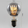 Trafford LED Spiral Filament GLS Bulb, Smoked Glass, Dimmable