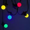 50 metre, 50 Golf Ball Lamp Festoon String, 1000mm Spacing with 50 bulbs, B22, Multi Colour