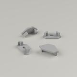Set of 4 End Caps for Straight Corner Aluminium Extrusion Profile, Grey