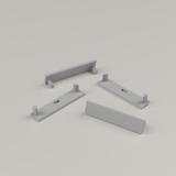 Set of 4 End Caps for Slim Wide Aluminium Extrusion Profile, Grey