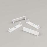 Set of 4 End Caps for Slim Wide Aluminium Extrusion Profile, White